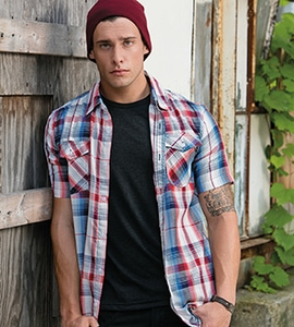 Burnside 9202 - SHORT SLEEVE PLAID PATTERN WOVEN