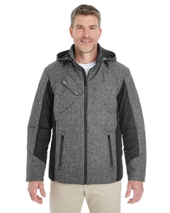 Devon & Jones DG710 - Mens Midtown Insulated Fabric-Block Jacket with Crosshatch Melange