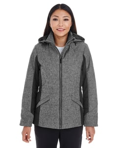 Devon & Jones DG710W - Ladies Midtown Insulated Fabric-Block Jacket with Crosshatch Melange