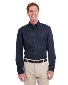 Harriton M581T - Mens Tall Foundation 100% Cotton Long Sleeve Twill Shirt with Teflon™