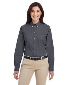 Harriton M581W - Ladies Foundation 100% Cotton Long Sleeve Twill Shirt with Teflon™