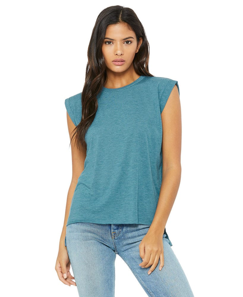 66a993cafa2 BELLA+CANVAS B8804 - Women s Flowy Muscle Tee with Rolled Cuff