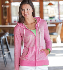 Weatherproof W1280 - LADIES  STEFANI BURNOUT FULL-ZIP HOOD