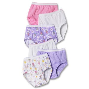 Hanes TP30AS - TAGLESS Toddler Girls Cotton Briefs 6-Pack