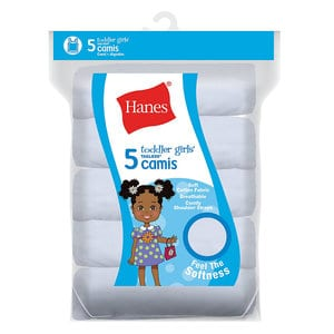Hanes TV30P5 - Ultimate™ TAGLESS Cotton Stretch Toddler Girls Cami White 5-Pack