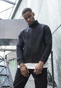 Build Your Brand BY106 - High Neck Sweat Zip Cardigan