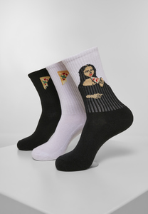 Mister Tee MT2046 - Arti Pizza Sport Socks 3-Pack