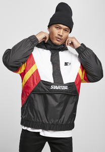 Starter Black Label ST061 - Starter Color Block Half Zip Retro Jacket black/wht/starter red/golden