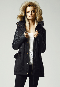 Urban Classics TB1091 - Ladies Leather Imitation Sleeve Parka