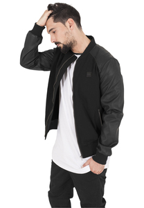 Urban Classics TB1163 - Cotton Bomber Leather Imitation Sleeve Jacket