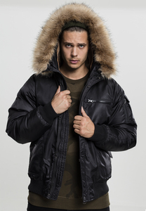 Urban Classics TB1809 - Hooded Heavy Fake Fur Bomber Jacket