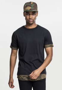 Urban Classics TB1863 - Long Shaped Camo Inset Tee