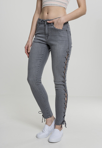 Urban Classics TB2003 - Ladies Denim Lace Up Skinny Pants