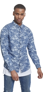 Urban Classics TB2200 - Printed Palm Denim Shirt