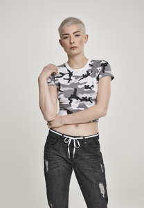 Urban Classics TB2755 - Ladies Stretch Jersey Cropped Tee snow camo