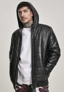 Urban Classics TB3162 - Hooded Faux Leather Bubble Jacket