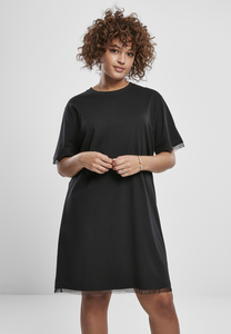 Urban Classics TB3411 - Women Boxy Lace Hem Tee Dress