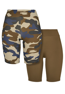 Urban Classics TB3423A - Damen High Waist Camo Tech Cycle Shorts Doppelpack