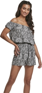 Urban Classics TB3433 - Ladies AOP Off Shoulder Short Jumpsuit