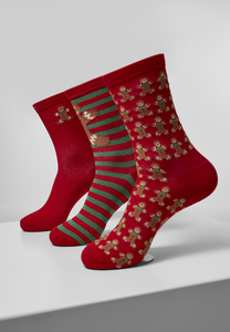 Urban Classics TB3748 - Christmas Gingerbread Lurex Socks 3-Pack