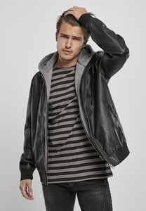 Urban Classics TB3804 - Fleece Hooded Fake Leather Jacket