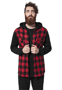 Urban Classics TB513 - Hooded Checked Flanell Sweat Sleeve Shir