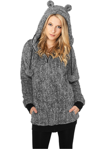 Urban Classics TB616 - Ladies Melange Teddy Zip Hoody