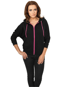Urban Classics TB743 - Ladies Bat 3/4 Sleeve Zip Hoody