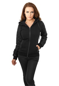 Urban Classics TB785 - Ladies Diamond Leather Imitation Sleeve Zip Hoody