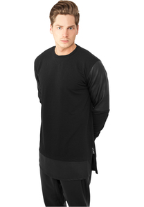 Urban Classics TB821 - Long Zipped Leather Imitation Crewneck