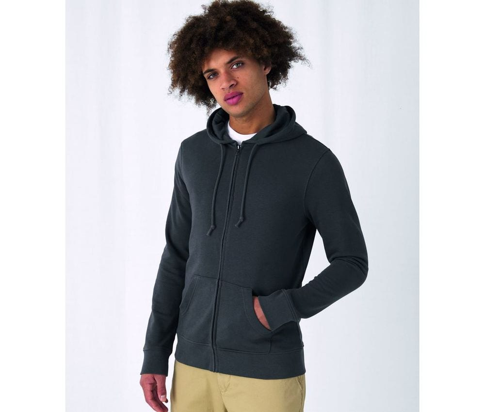 B&C BCU35B - Sweat capuche zippé organique