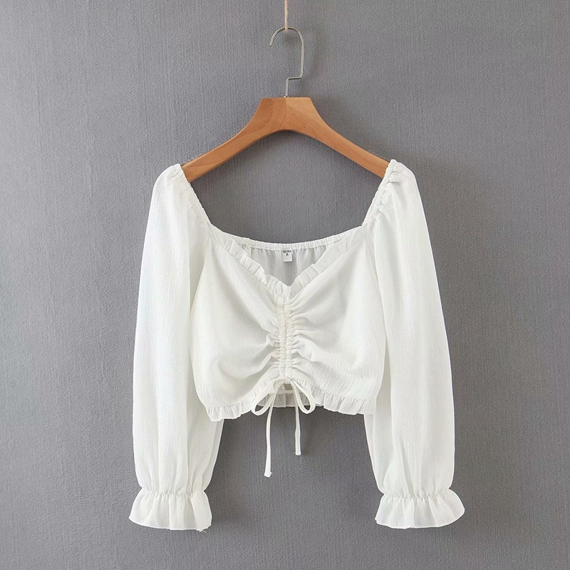 Shirred long-sleeved top with drawstrings