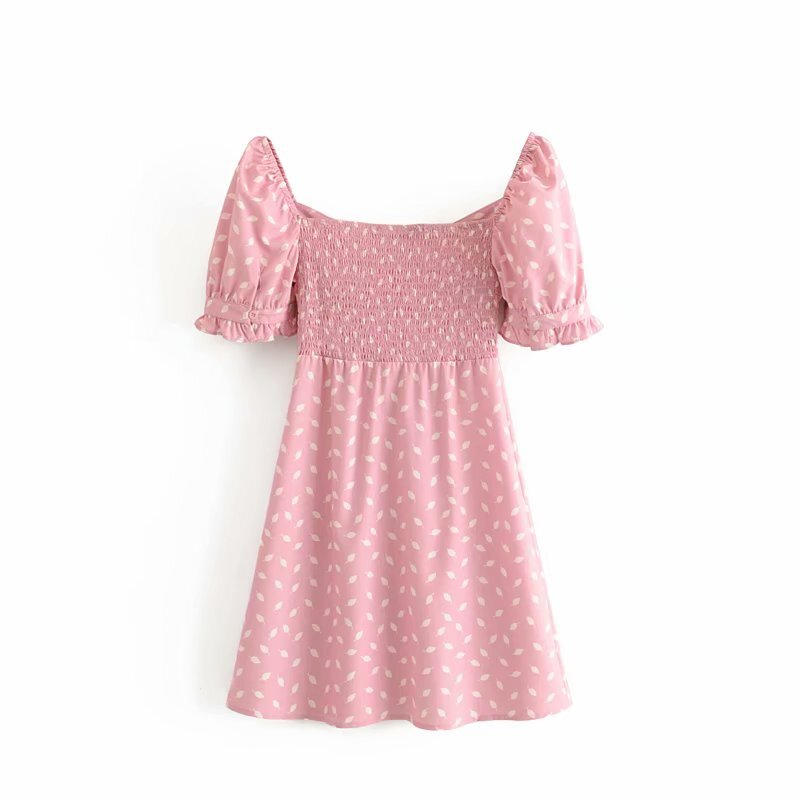 Button-down dress with print and short puffed sleeves