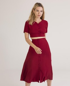 Crop top and long skirt crepe set