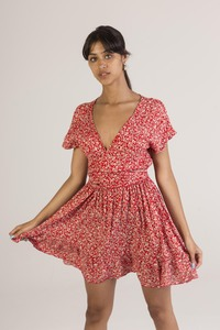 Printed dress with plunging neckline