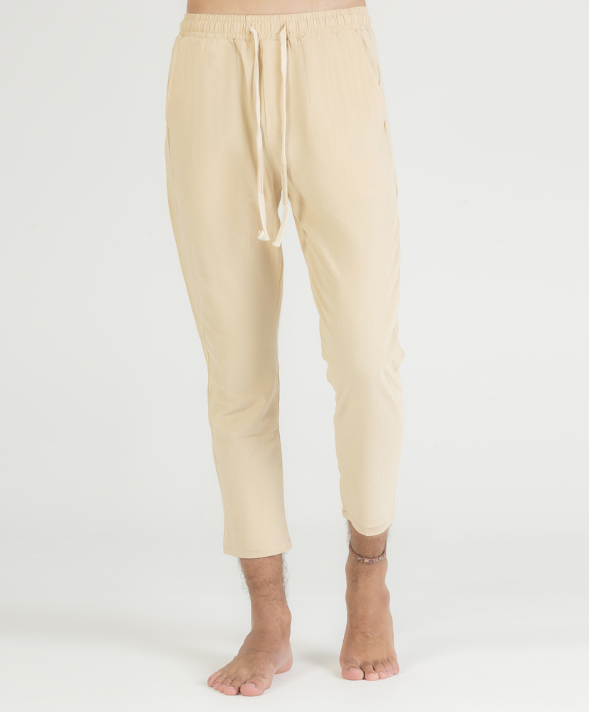 Cotton and linen structured jogging pants