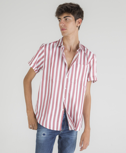 Striped print short sleeve shirt